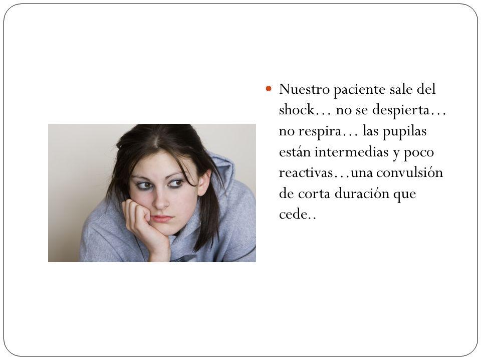 Nuestro paciente sale del shock… no se despierta… no respira… las pupilas están intermedias y poco reactivas…una convulsión de corta duración que cede..