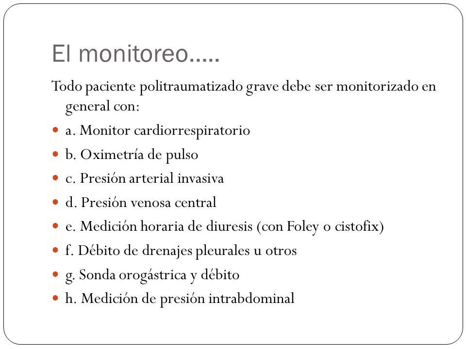 El monitoreo….. Todo paciente politraumatizado grave debe ser monitorizado en general con: a. Monitor cardiorrespiratorio.