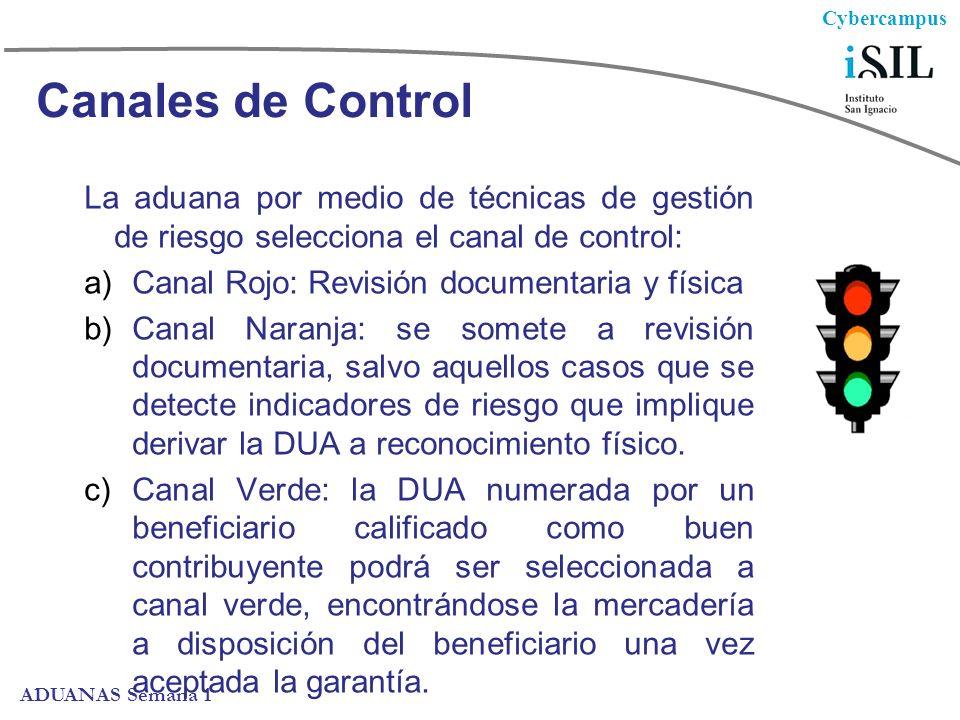 Canales de Control La aduana por medio de técnicas de gestión de riesgo selecciona el canal de control:
