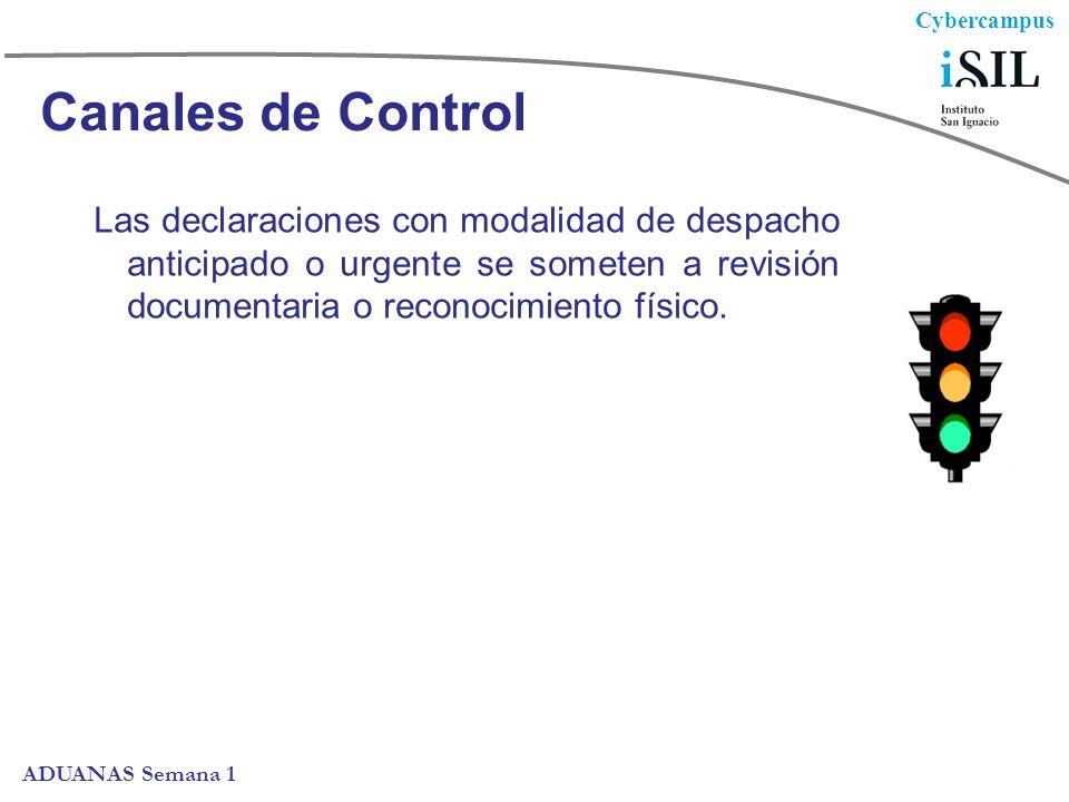 Canales de Control Las declaraciones con modalidad de despacho anticipado o urgente se someten a revisión documentaria o reconocimiento físico.