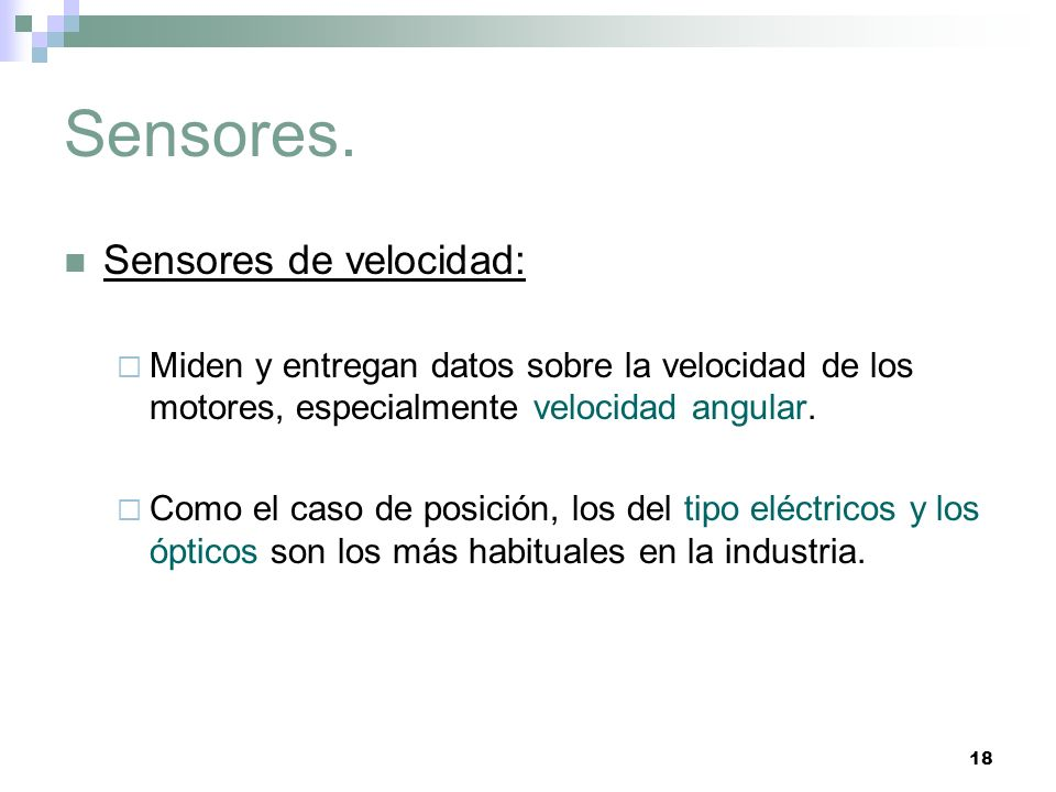 Sensores. Sensores de velocidad: