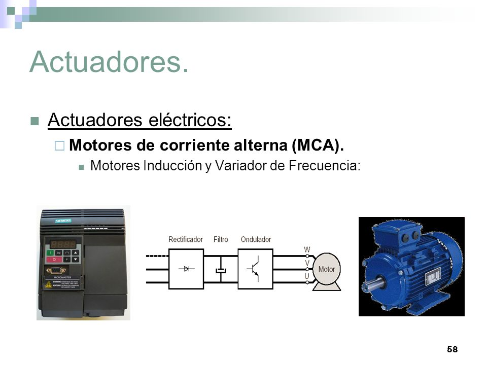 Actuadores. Actuadores eléctricos: Motores de corriente alterna (MCA).