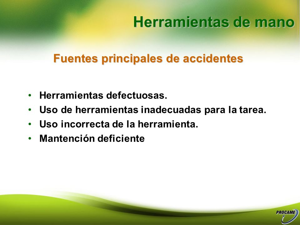 Fuentes principales de accidentes