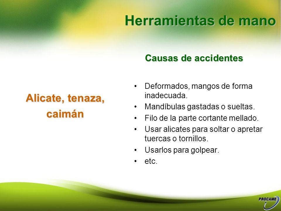 Herramientas de mano Alicate, tenaza, caimán Causas de accidentes
