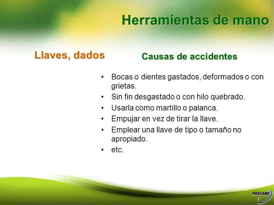 Herramientas de mano Llaves, dados Causas de accidentes