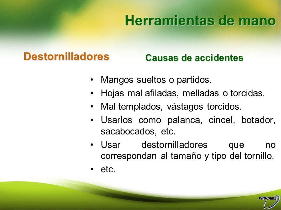 Herramientas de mano Destornilladores Causas de accidentes