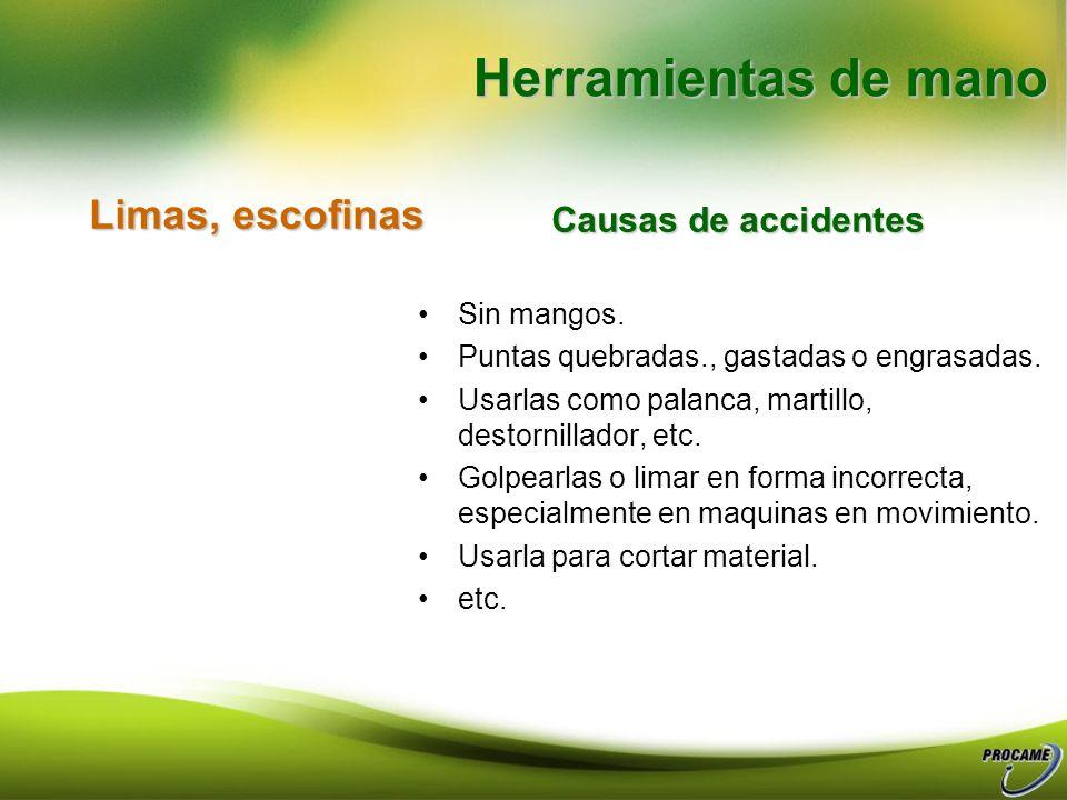 Herramientas de mano Limas, escofinas Causas de accidentes Sin mangos.