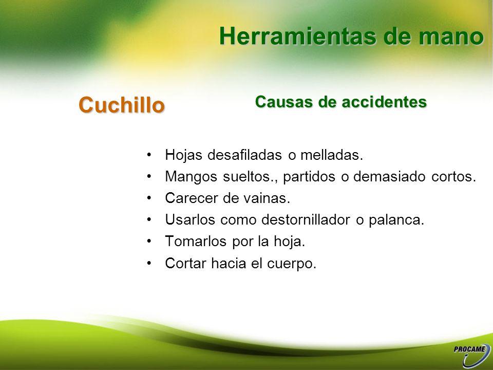 Herramientas de mano Cuchillo Causas de accidentes