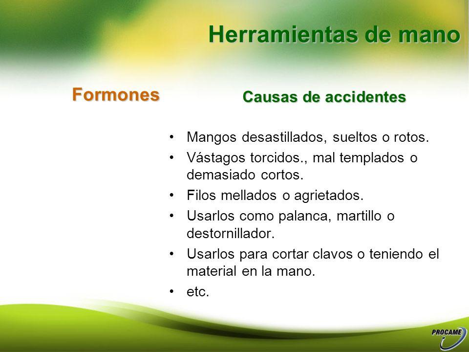 Herramientas de mano Formones Causas de accidentes