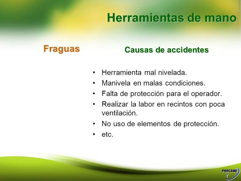 Herramientas de mano Fraguas Causas de accidentes