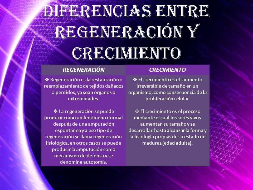 Diferencias entre Regeneración y Crecimiento