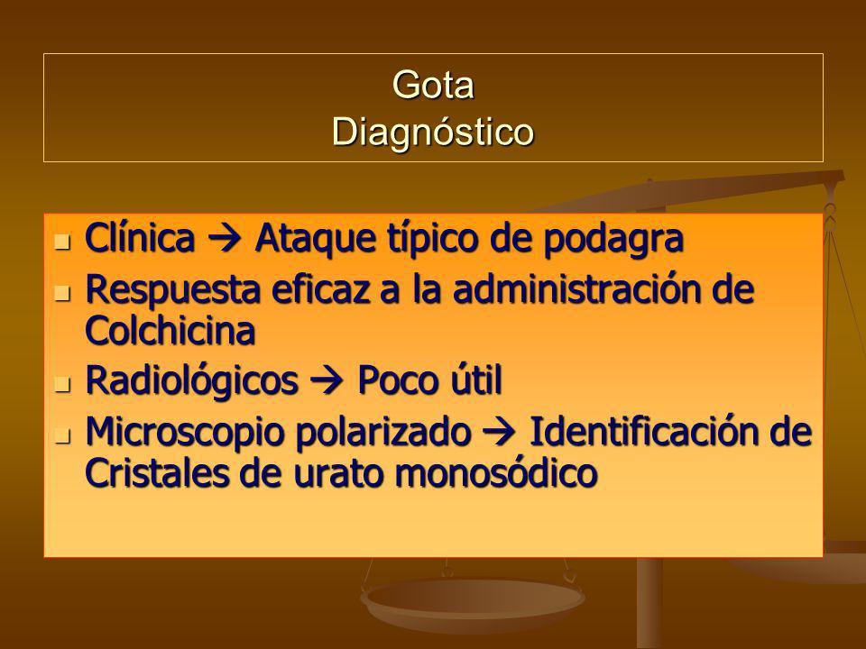 Gota DiagnósticoClínica  Ataque típico de podagra. Respuesta eficaz a la administración de Colchicina.
