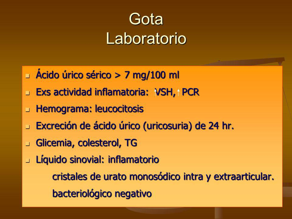 Gota Laboratorio Ácido úrico sérico > 7 mg/100 ml