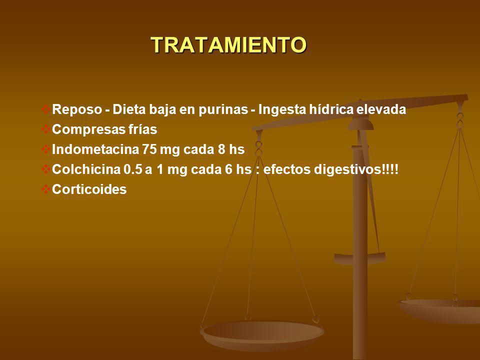 TRATAMIENTO Reposo - Dieta baja en purinas - Ingesta hídrica elevada