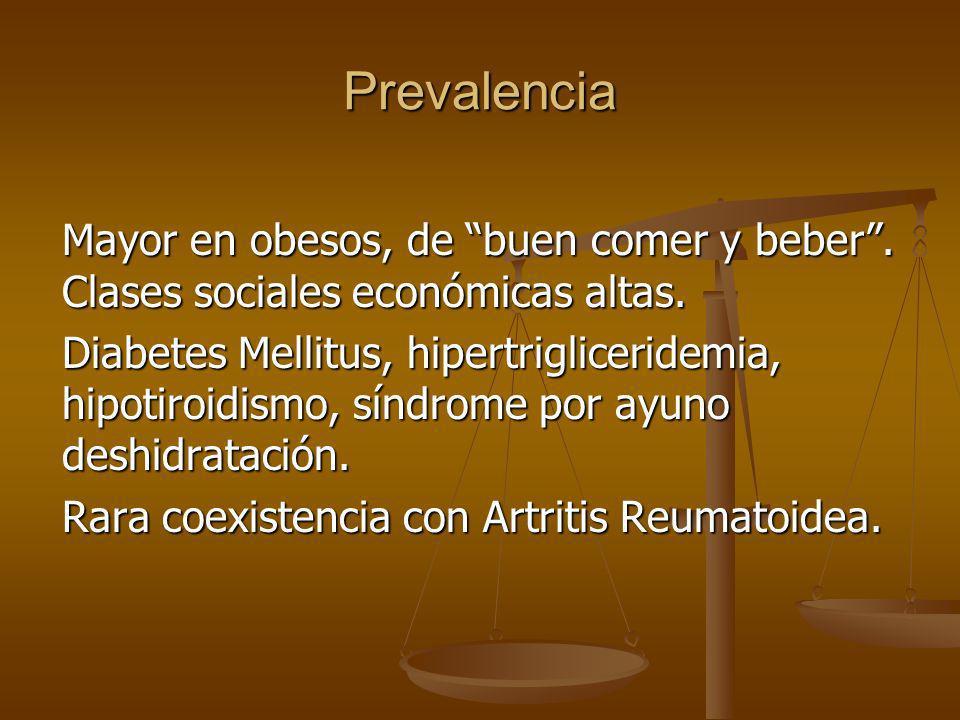 Prevalencia Mayor en obesos, de buen comer y beber . Clases sociales económicas altas.