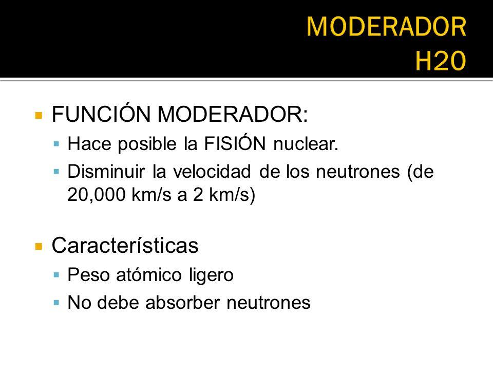 MODERADOR H20 FUNCIÓN MODERADOR: Características