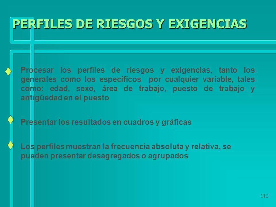 PERFILES DE RIESGOS Y EXIGENCIAS