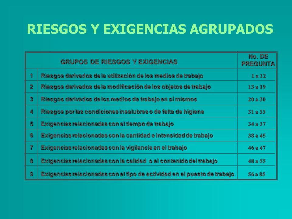 RIESGOS Y EXIGENCIAS AGRUPADOS