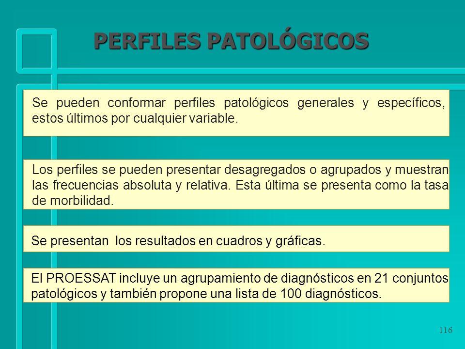 PERFILES PATOLÓGICOS Se pueden conformar perfiles patológicos generales y específicos, estos últimos por cualquier variable.