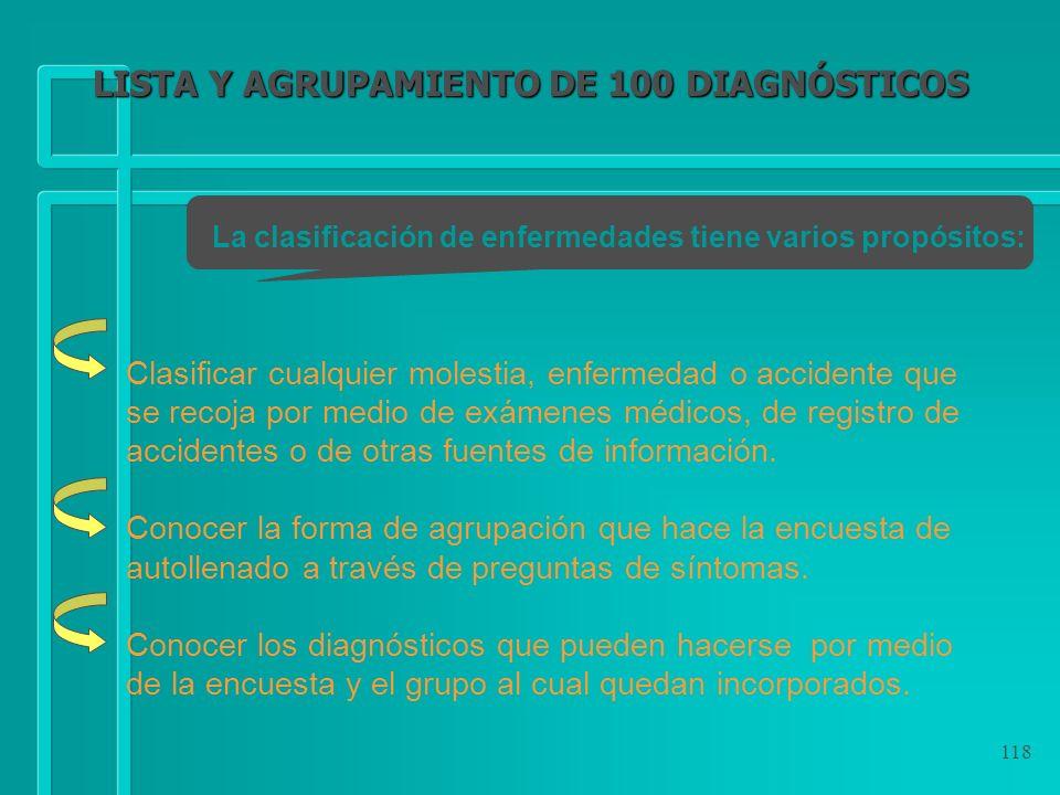 LISTA Y AGRUPAMIENTO DE 100 DIAGNÓSTICOS