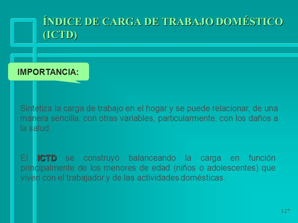 ÍNDICE DE CARGA DE TRABAJO DOMÉSTICO (ICTD)
