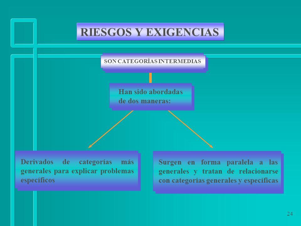 RIESGOS Y EXIGENCIAS Han sido abordadas de dos maneras: