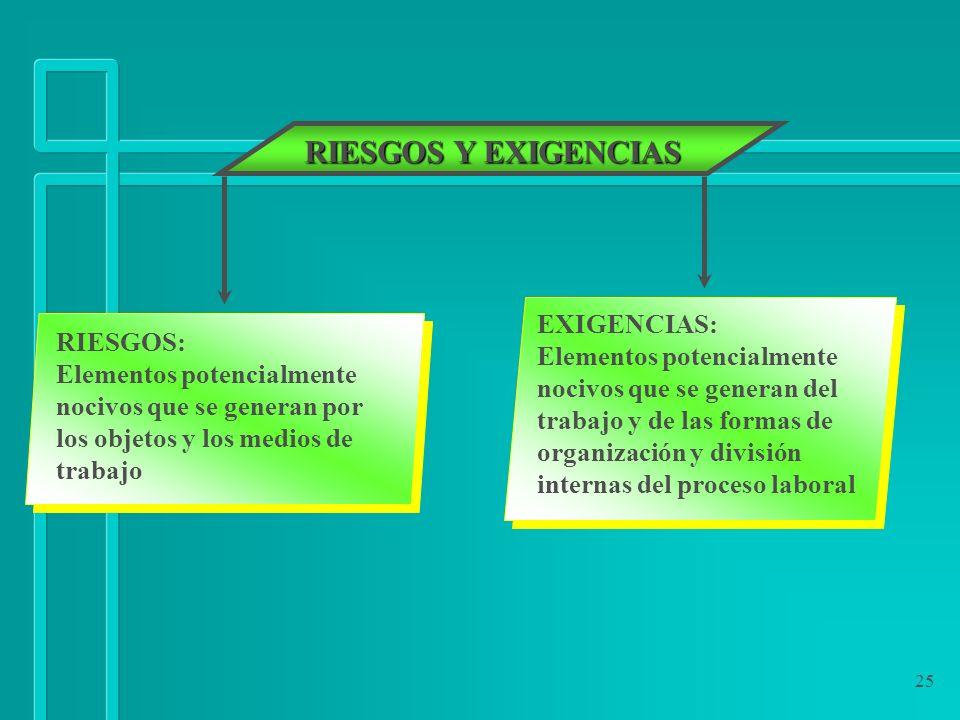 RIESGOS Y EXIGENCIAS EXIGENCIAS: RIESGOS: