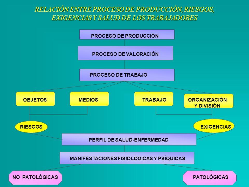 RELACIÓN ENTRE PROCESO DE PRODUCCIÓN, RIESGOS, EXIGENCIAS Y SALUD DE LOS TRABAJADORES