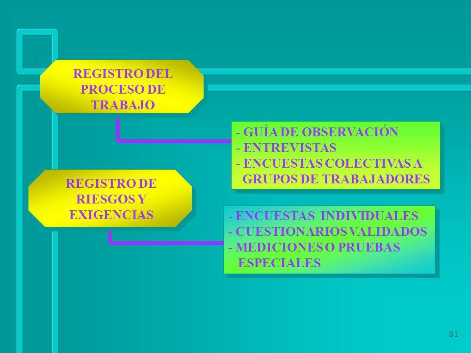 REGISTRO DEL PROCESO DE TRABAJO REGISTRO DE RIESGOS Y EXIGENCIAS