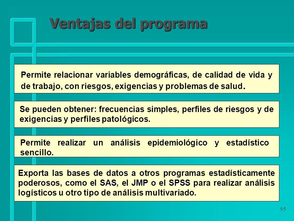 Ventajas del programa Permite relacionar variables demográficas, de calidad de vida y de trabajo, con riesgos, exigencias y problemas de salud.