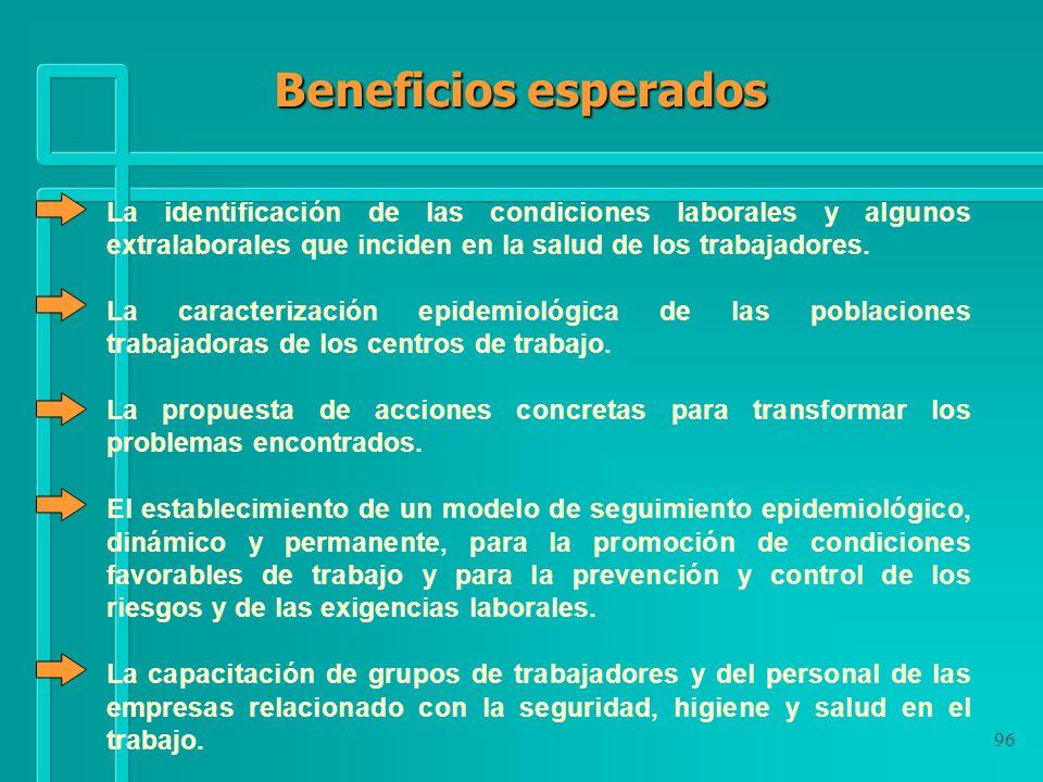 Beneficios esperadosLa identificación de las condiciones laborales y algunos extralaborales que inciden en la salud de los trabajadores.