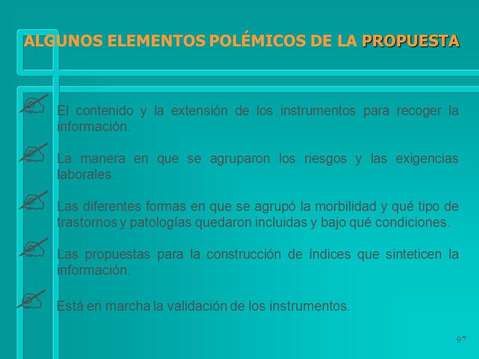 ALGUNOS ELEMENTOS POLÉMICOS DE LA PROPUESTA