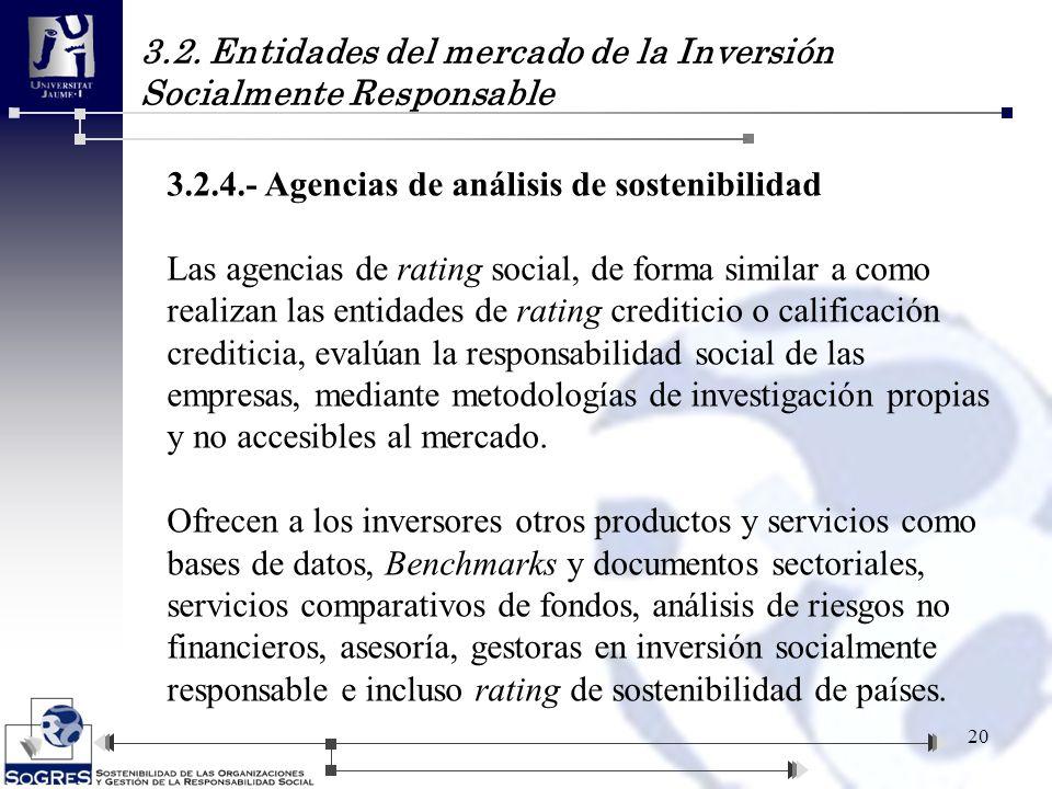3.2. Entidades del mercado de la Inversión Socialmente Responsable