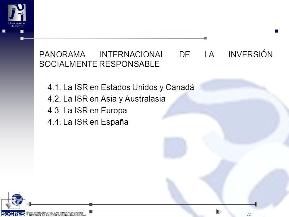 PANORAMA INTERNACIONAL DE LA INVERSIÓN SOCIALMENTE RESPONSABLE 4. 1
