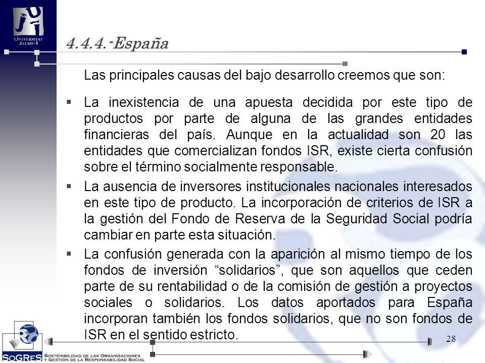 4.4.4.-España Las principales causas del bajo desarrollo creemos que son: