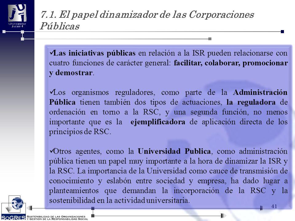 7.1. El papel dinamizador de las Corporaciones Públicas