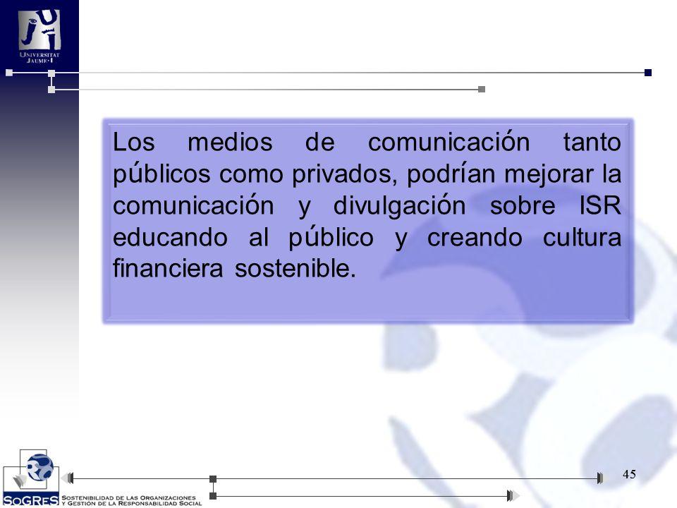 Los medios de comunicación tanto públicos como privados, podrían mejorar la comunicación y divulgación sobre ISR educando al público y creando cultura financiera sostenible.
