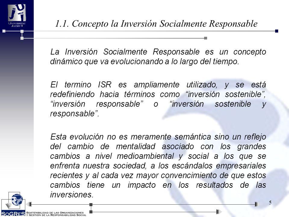 1.1. Concepto la Inversión Socialmente Responsable