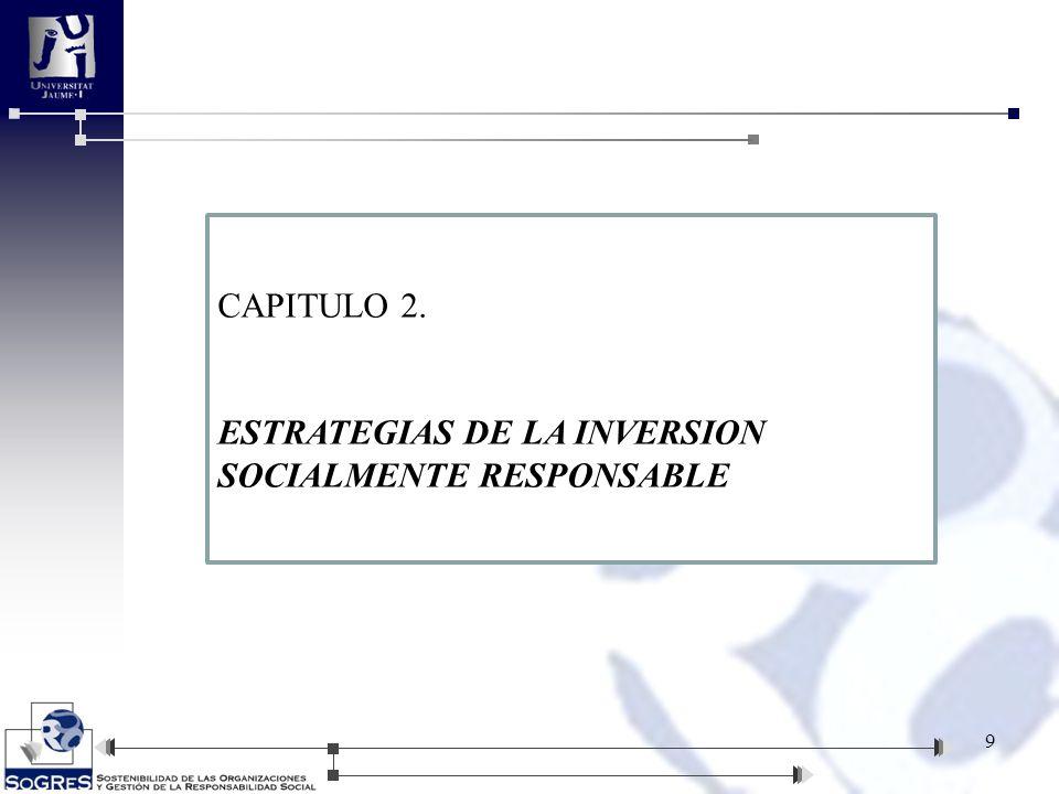 CAPITULO 2. ESTRATEGIAS DE LA INVERSION SOCIALMENTE RESPONSABLE
