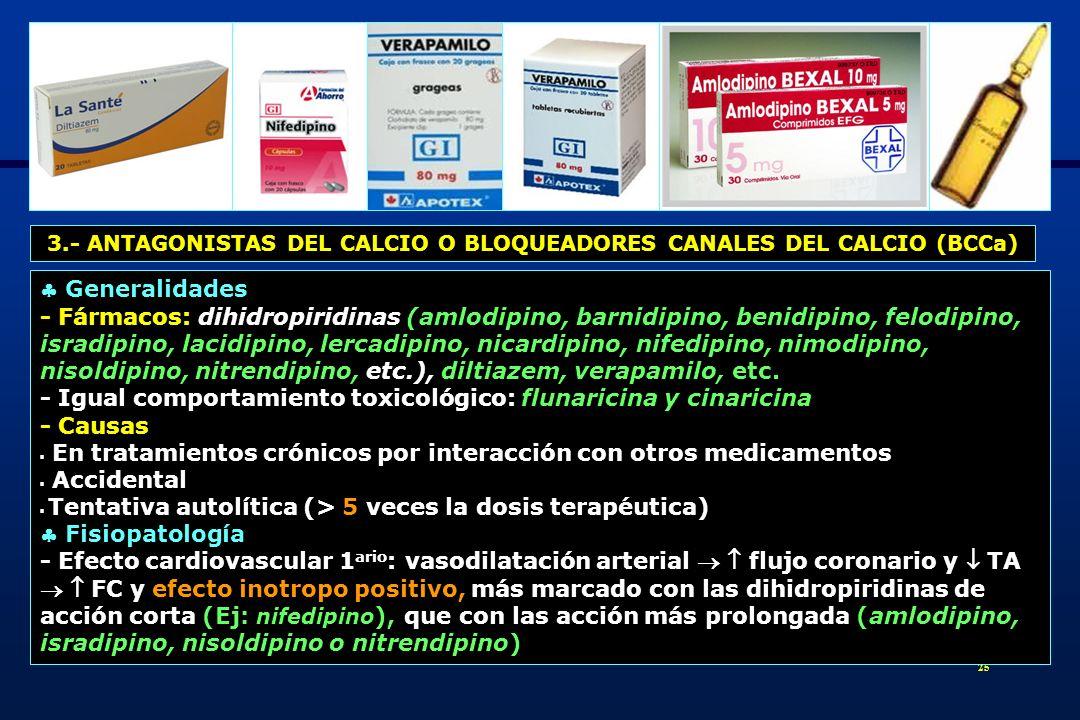 3.- ANTAGONISTAS DEL CALCIO O BLOQUEADORES CANALES DEL CALCIO (BCCa)