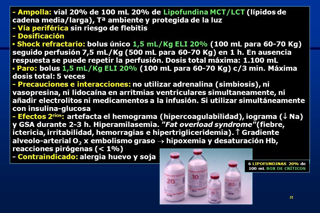 6 LIPOFUNDINAS 20% de 100 mL BOX DE CRÍTICOS