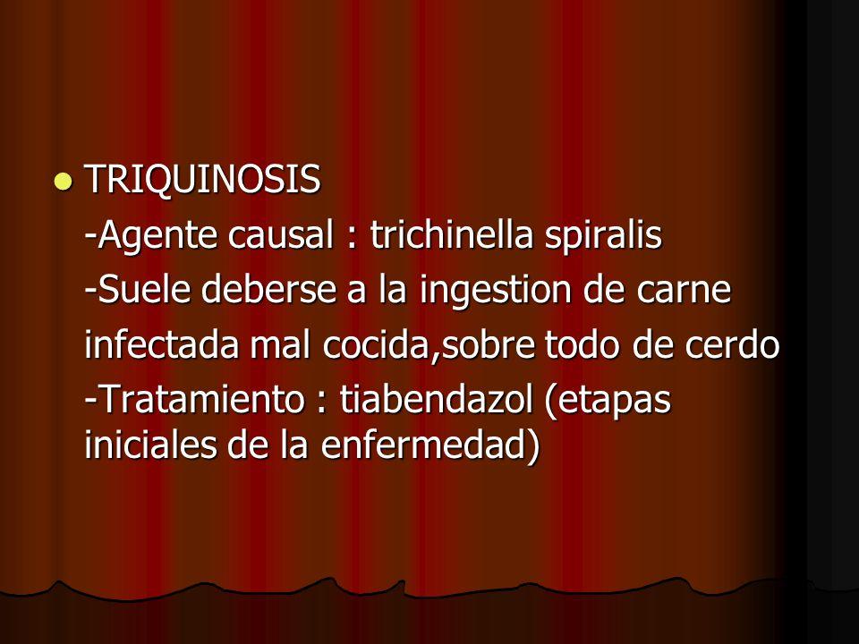 TRIQUINOSIS -Agente causal : trichinella spiralis. -Suele deberse a la ingestion de carne. infectada mal cocida,sobre todo de cerdo.