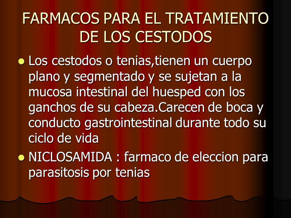 FARMACOS PARA EL TRATAMIENTO DE LOS CESTODOS