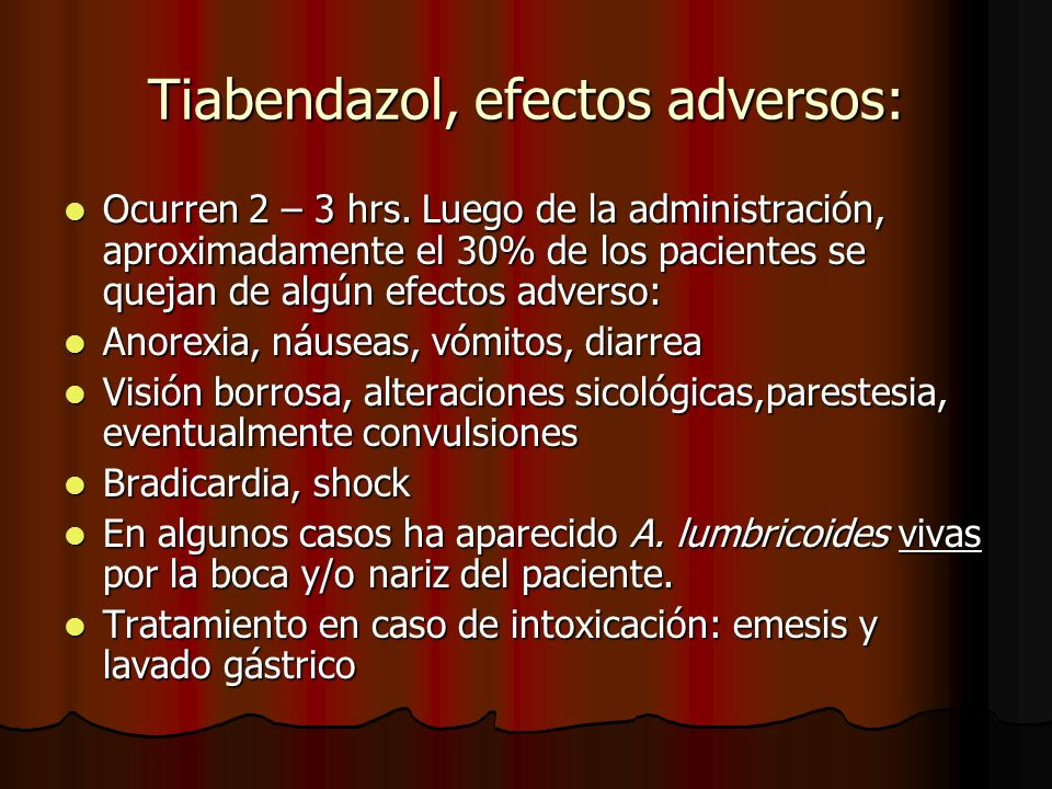 Tiabendazol, efectos adversos: