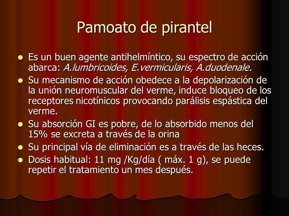 Pamoato de pirantel Es un buen agente antihelmíntico, su espectro de acción abarca: A.lumbricoides, E.vermicularis, A.duodenale.