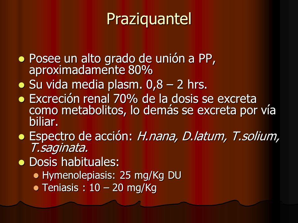 Praziquantel Posee un alto grado de unión a PP, aproximadamente 80%