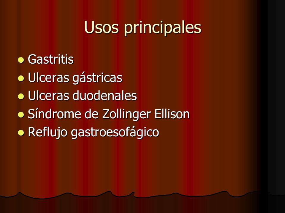 Usos principales Gastritis Ulceras gástricas Ulceras duodenales