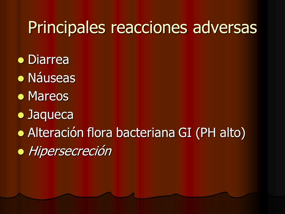 Principales reacciones adversas