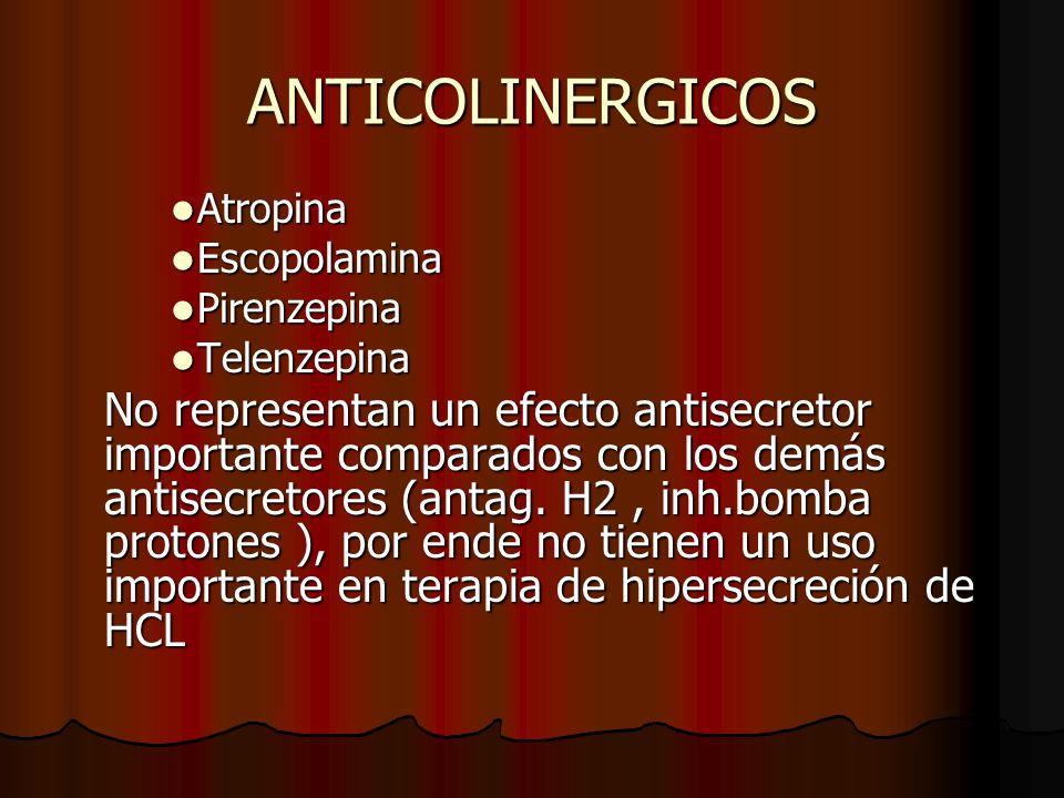 ANTICOLINERGICOS Atropina. Escopolamina. Pirenzepina. Telenzepina.