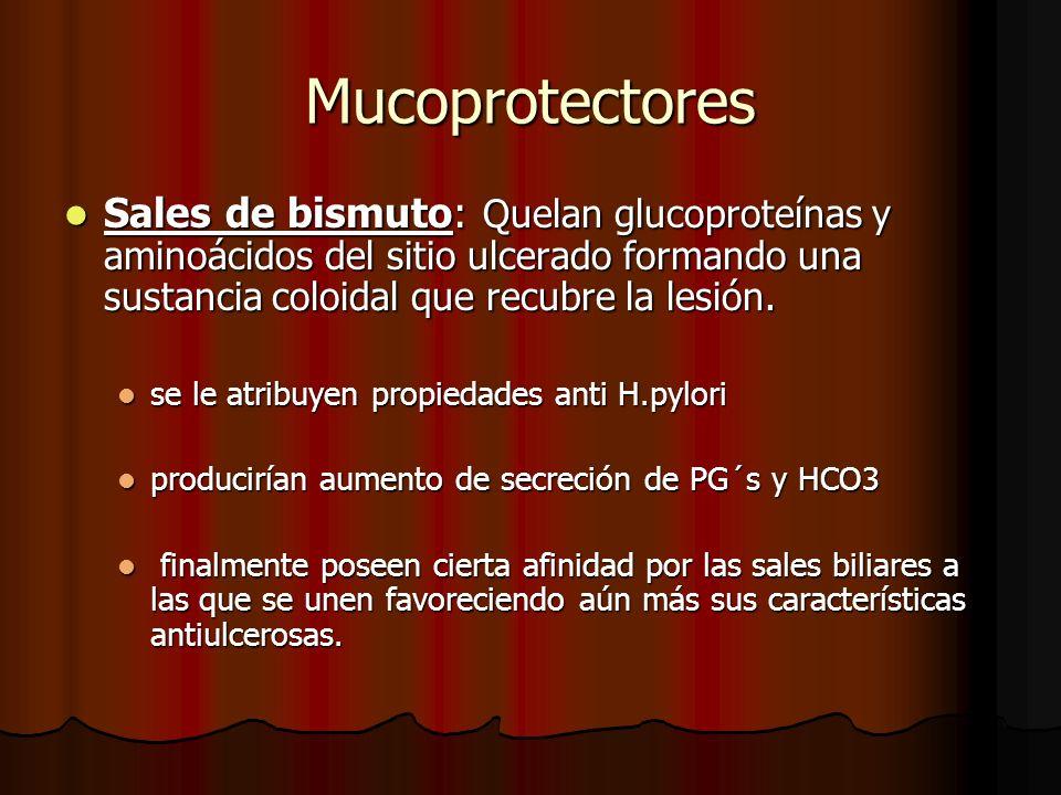 Mucoprotectores Sales de bismuto: Quelan glucoproteínas y aminoácidos del sitio ulcerado formando una sustancia coloidal que recubre la lesión.